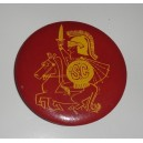 Tommy Trojan riding Traveller pin