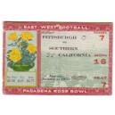 1933 Rosebowl ticket stub. USC vs. Pittsburgh
