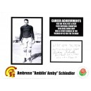 Ambrose Schindler autographed card with photo.
