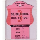 1967 USC vs Notre Dame press pass.