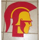 Vintage Tommy Trojan head made from cardboard.
