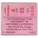 1931 Season ticket stub