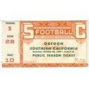 1949 USC vs. Oregon ticket stub
