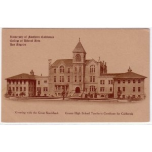 Postcard Old College USC early sepia photo