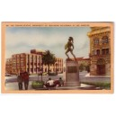 Postcard Tommy Trojan USC color linen